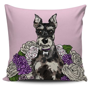 Illustrated Schnauzer Pillow Cover