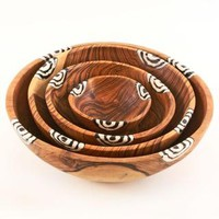 Wild Olivewood Bowls with Dyed Bone Inlay