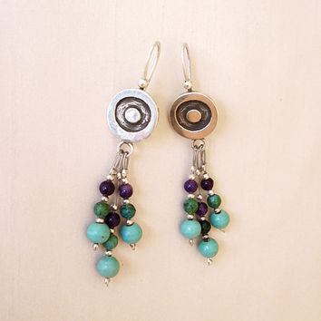 Sterling Silver and Stones Long Earrings - Turquoise Chrysocolla Amethyst - Silver turquoise blue green purple - Colorful Original Earrings