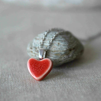 Ceramic heart pendant necklace, red heart necklace, Valentines gift for her