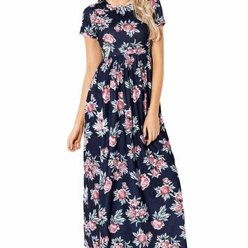 Pocket Design Short Sleeve Dark Blue Floral Maxi Dress