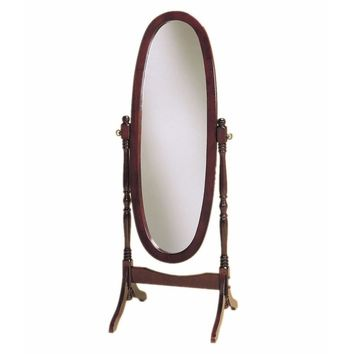 Full Length Oval Cheval Mirror In Cherry Finish