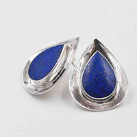 Vintage Boma Sterling Silver Lapis Lazuli Pierced Earrings, Teardrop, Blue, Semi Precious, Post Style, Deep Blue Beauties! #b968