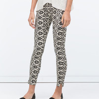 Cropped skinny printed trousers