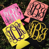 Monogrammed Koozies Personalized Coozie Can Coozie Preppy  Bachelorette Koozie Monogram Koozie Coozie Monogrammed Gifts or Wedding Coozie