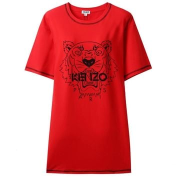 Kenzo Tide brand women's new tiger head letter printed round neck dress Red