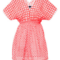 Neon-Coral Eyelet Cotton Tunic