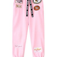 Pink Patch Pattern Elastic Waist Sport Pants