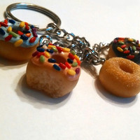 Doughnut Dangle Key Chain, Polymer Clay Chunky Key Chain, Food Accessories