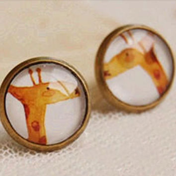 Ilustrated Antique Bronze Giraffe Copper and Glass Stud Earrings