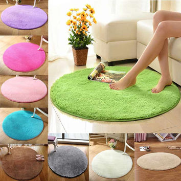 New Anti-slip 40cm Diameter 4.5cm Thicken Round Floor Carpets Living Room Bathroom Circle Mat Rug @LS