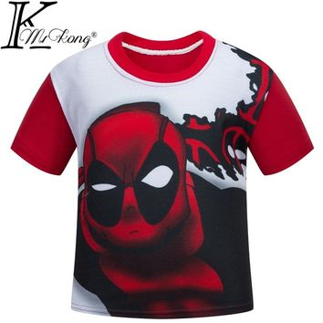 110cm-150cm Deadpool T Shirt Boys Brand Clothing Hip Hop Tshirt 3D deadpool costume for kids Cotton Game T-shirt DC773