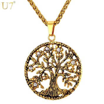 U7 Brand Tree of Life Charms Pendant Necklace Rhinestone Gold Color Stainless Steel Men/Women Chain Lucky Jewelry Gift P865