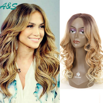 26 inch Jennifer Lopez hair cut ocean wavy cosplay wig synthetic lace front wig