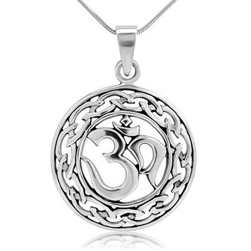 925 Sterling Silver Yoga, Om, Ohm, Sanskrit Celtic Filigree Weaving Pendant Necklace, 18 inches