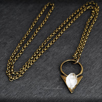 "RAW WHITE DIAMOND Pendant Necklace Natural Gemstone - Vintage Bronze Metalwork Bronze 24"" Chain"
