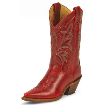 Justin Womens Dark Red Fashion Narrow Square Toe Cowgirl Boots