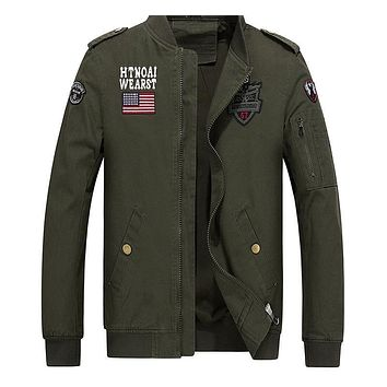 New Male Pilot Jackets Flight Jacket Air Force Bomber Zipper Coat Men Baseball Casual Army Outwear
