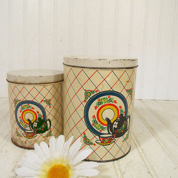 Antique Shabby Set of Colorful Litho Metal Canisters - Vintage Kitchen Tins with Lids - Well Used Coffee & Tea Containers for Cottage Decor