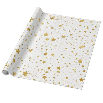 Golden Stars2 -Pure White- Wrapping Paper
