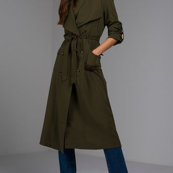Lightweight Cargo Trench Coat in Olive