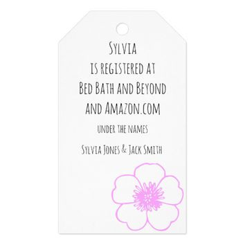 Pink Flower Wedding Registry Information Gift Tags