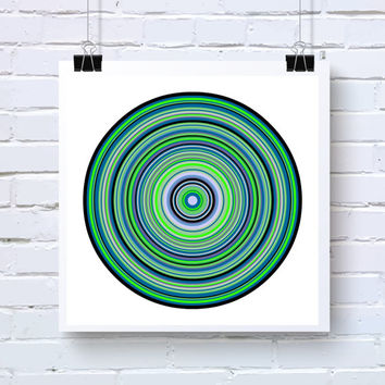 Blue Green, and Black Geometric Wall Art, Abstract Generative Art inspired by Chemistry and Physics, fine art photo print, ringsBlueGreen1t