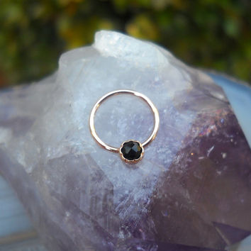 Black Onyx 3mm Stone Nipple Ring Piercing/Septum Ring/Nose Ring/Conch Piercing 14K Rose Gold Filled Handcrafted