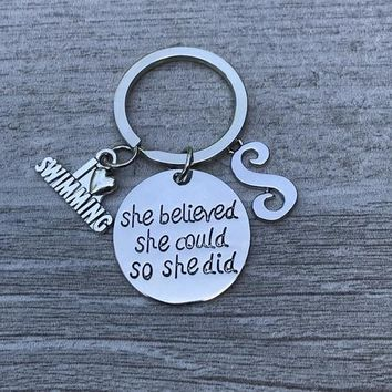 Personalized Swimming Keychain with Letter Charm