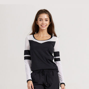 Gym Tops Summer Long Sleeve Sports Hollow Out Jogging Slim T-shirts [10544461511]