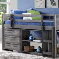 Hailey Grey Loft Bed with Two Bookshelves