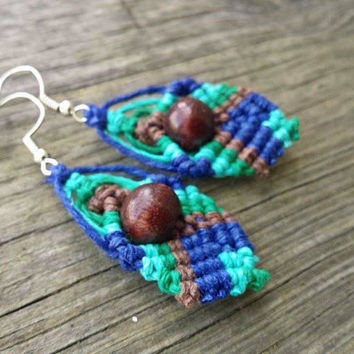 Tribal Hemp Earrings, Boho Jewelry, Wood Bead Earrings, Macrame Jewelry, Hemp Jewelry, Chunky Earrings