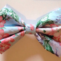 Large Blue Floral Hair Bow - Vintage Hairbow Polycotton Flowers Hipster Summer Festival Cute Leaf Leaves Pink Purple Pastel Baby Blue Sky