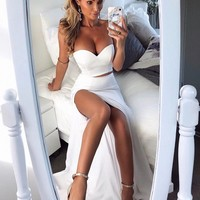 Prom Dresses White Strapless Two Piece Evening Dresses