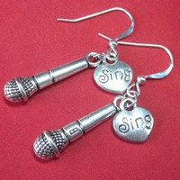 Metal microphone charm earrings karaoke singer sterling ear wires