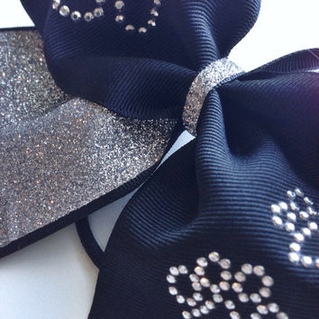 Silver and Black Paw Print Cheer Bow