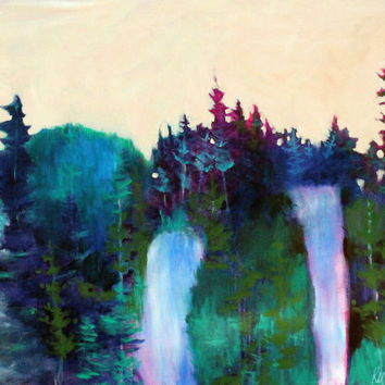 "Large Abstract Landscape Painting, Acrylics on Canvas, Colorful Forest Trees Waterfall ""Sunset over the Forest"""