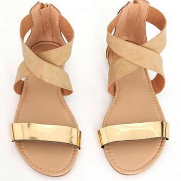 Missguided - Gold Detail Crossover Flat Sandal Nude