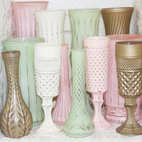Blush Pink Mint Green Ivory Gold Shabby Chic Vase Set Made to Order Order