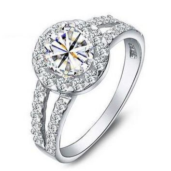 925 Sterling Silver Engagement Rings for Women 2016 New Super Shiny 3 Carat Stone Wedding Ring Jewelry