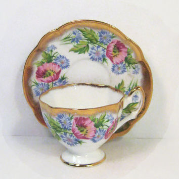 Antique Salisbury Tea Cup and Saucer Set Pink Poppy Blue Wild Flower Gold Rims English Fine Bone China
