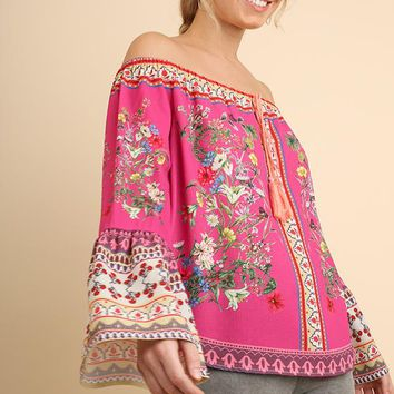 Umgee Multi Off the Shoulder Blouse