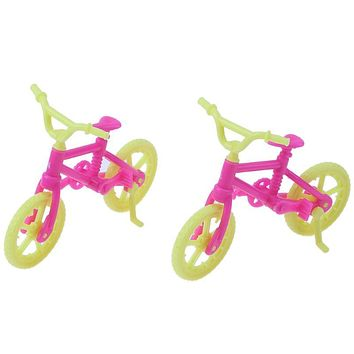 2pcs Handmade Toy Bicycles Bike Doll Accessories Fashion Mini Plastic Bike for Barbie Doll Girl Xmas Gift Play House Toy