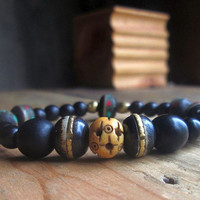 Black Wood, Nepal, Carved Wood, Brass, Inlaid Bone, Unisex Bracelet, Tribal, Boho, Layering , Stacking