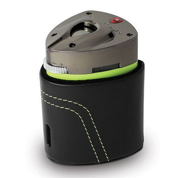 Tonino Lamborghini Mugello Green Triple Torch Table Lighter with Leather Case
