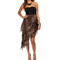 Black/Leopard Strapless Asymmetrical Dress