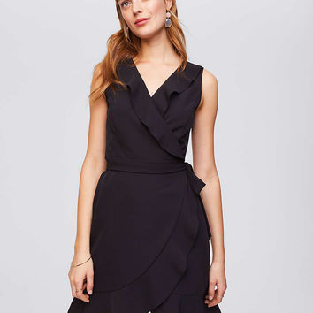 Ruffled Sleeveless Wrap Dress | LOFT