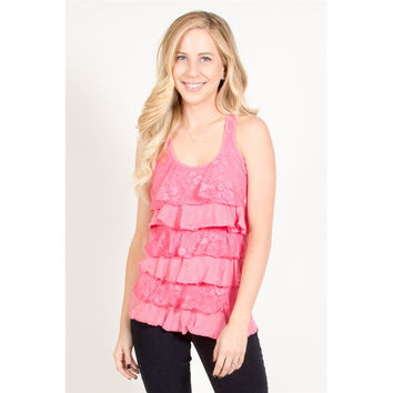 Lace Ruffle Front Tank Top