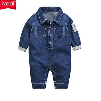 Baby Boy Clothes Romper Jeans Long Sleeve Overalls Jumpsuit Infant Spring Denim Cardigan Climbing Clothing