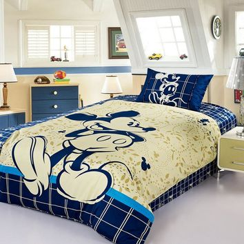DISNEY Mickey Mouse Bedding Set 100% Cotton Cartoon Duvet Cover Blue Sheet Set Single Queen Size For Children Beddings